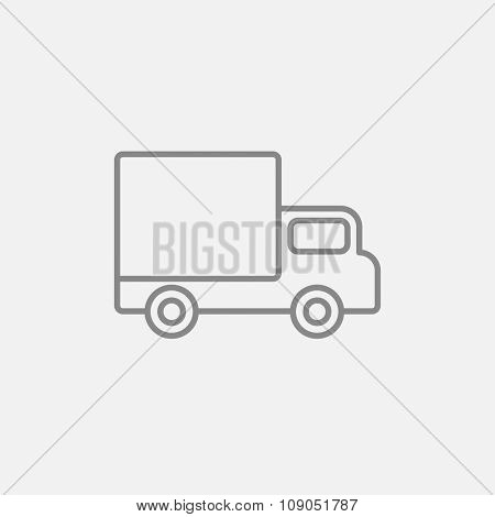 Delivery van line icon for web, mobile and infographics. Vector dark grey icon isolated on light grey background.