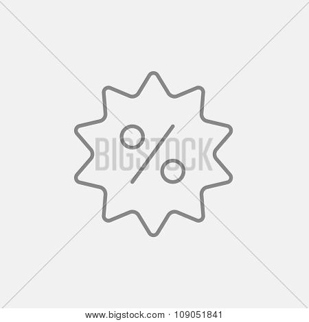 Discount tag line icon for web, mobile and infographics. Vector dark grey icon isolated on light grey background.