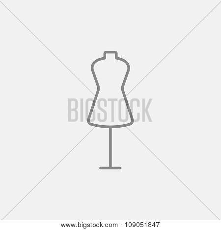 Mannequin line icon for web, mobile and infographics. Vector dark grey icon isolated on light grey background.