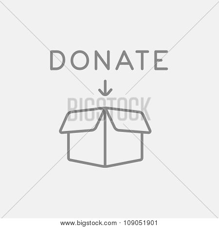 Open donation box line icon for web, mobile and infographics. Vector dark grey icon isolated on light grey background.