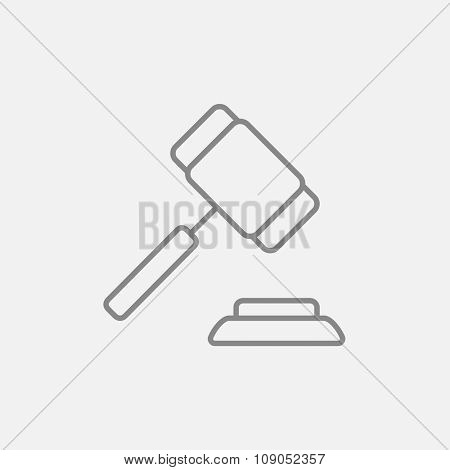 Auction gavel line icon for web, mobile and infographics. Vector dark grey icon isolated on light grey background.