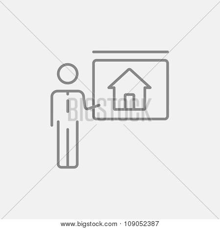 Real estate agent showing the house line icon for web, mobile and infographics. Vector dark grey icon isolated on light grey background.