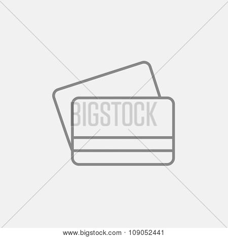 Credit cards line icon for web, mobile and infographics. Vector dark grey icon isolated on light grey background.