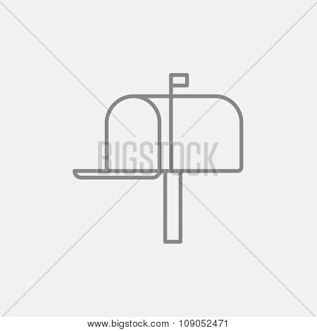 Mail box line icon for web, mobile and infographics. Vector dark grey icon isolated on light grey background.