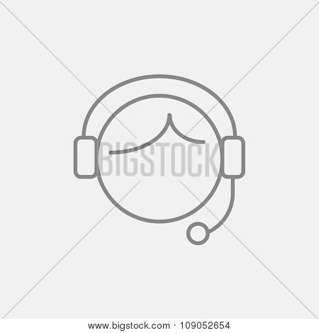 Operator of customer service line icon for web, mobile and infographics. Vector dark grey icon isolated on light grey background.