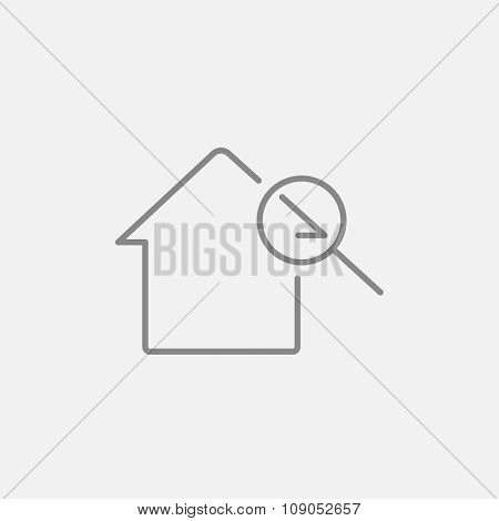 House and magnifying glass line icon for web, mobile and infographics. Vector dark grey icon isolated on light grey background.