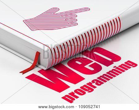 Web design concept: book Mouse Cursor, Web Programming on white background