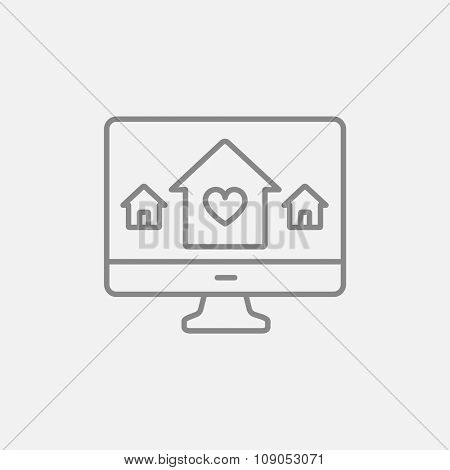 Smart house technology line icon for web, mobile and infographics. Vector dark grey icon isolated on light grey background.