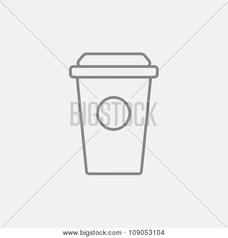 Disposable cup line icon for web, mobile and infographics. Vector dark grey icon isolated on light grey background.