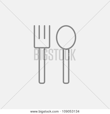 Spoon and fork line icon for web, mobile and infographics. Vector dark grey icon isolated on light grey background.
