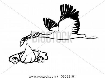 Stork And Car