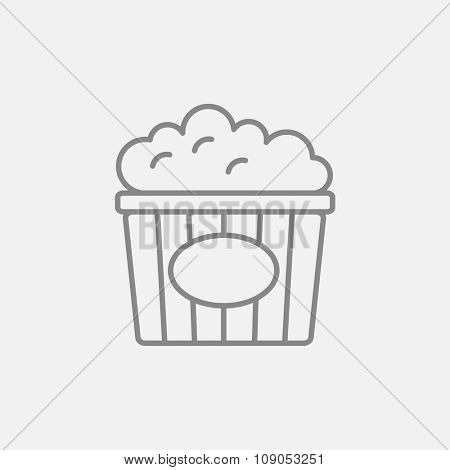 Popcorn line icon for web, mobile and infographics. Vector dark grey icon isolated on light grey background.