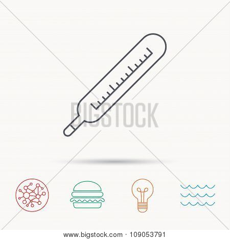 Medical thermometer icon. Temperature sign.