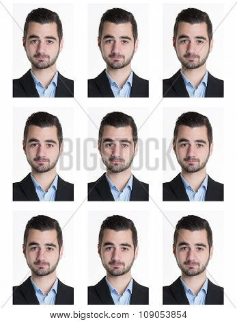 Identification Photo Of A Serious Man For Passport, Identity Card, ..