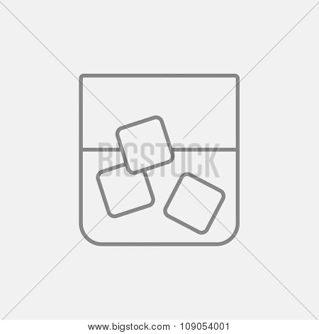 Glass of water with ice line icon for web, mobile and infographics. Vector dark grey icon isolated on light grey background.