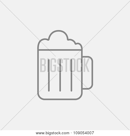 Mug of beer line icon for web, mobile and infographics. Vector dark grey icon isolated on light grey background.