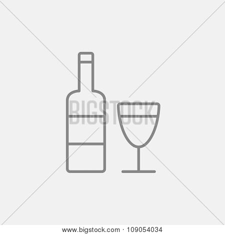 Bottle of wine line icon for web, mobile and infographics. Vector dark grey icon isolated on light grey background.