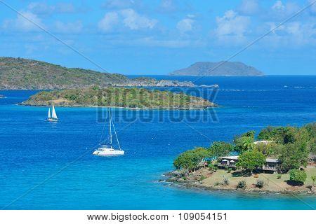 Sailing boat rest at bay in St John, Virgin Islands.