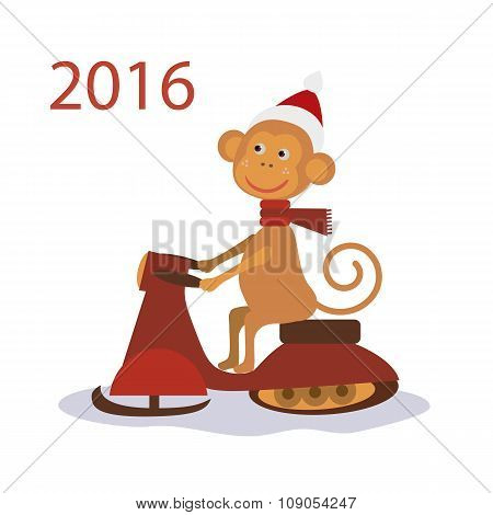 Monkey Santa Claus on snowmobile. vector illustration