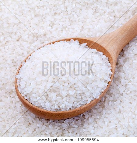 Japanese Rice, The Short Rice Used For Sushi In Wooden Spoon With Selective Focus.