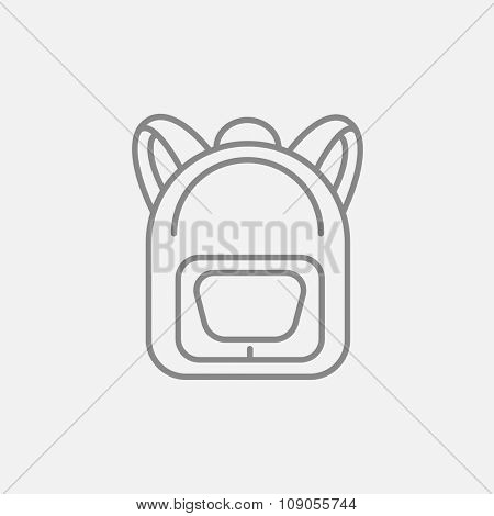 Backpack line icon for web, mobile and infographics. Vector dark grey icon isolated on light grey background.