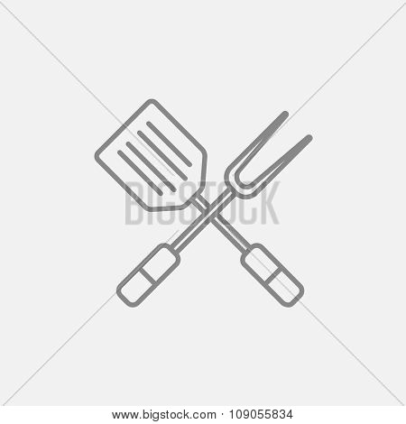 Crossed kitchen spatula and big fork line icon for web, mobile and infographics. Vector dark grey icon isolated on light grey background.