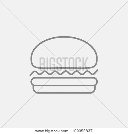 Hamburger line icon for web, mobile and infographics. Vector dark grey icon isolated on light grey background.