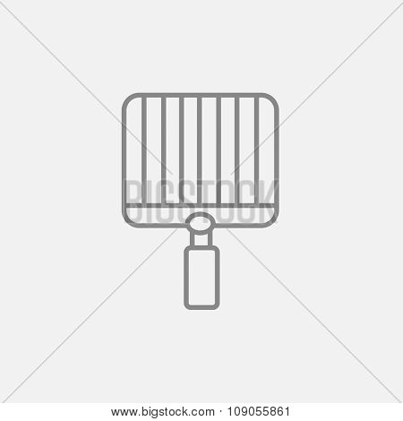 Empty barbecue grill grate line icon for web, mobile and infographics. Vector dark grey icon isolated on light grey background.