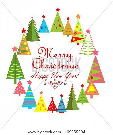 Childish greeting card for winter holiday with paper colorful firs