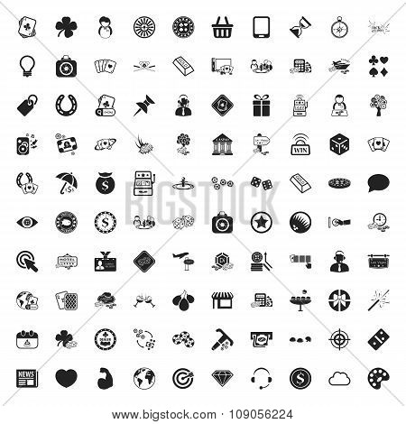 Gambling 100 Icons Universal Set For Web And Mobile Flat