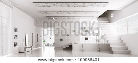 Interior Of Modern White Apartment Panorama 3d rendering