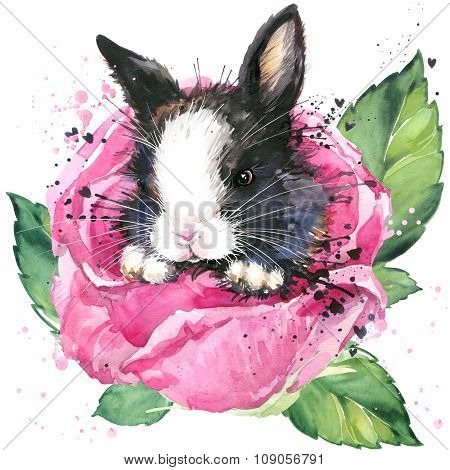 bunny and flower rose T-shirt graphics. bunny fairy illustration with splash watercolor textured bac