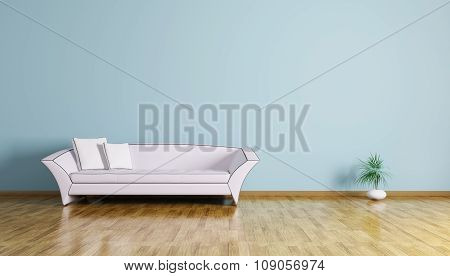 Interior Of A Room With Sofa 3D Render