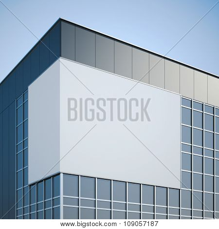 Blank billboard hanging on the modern office building