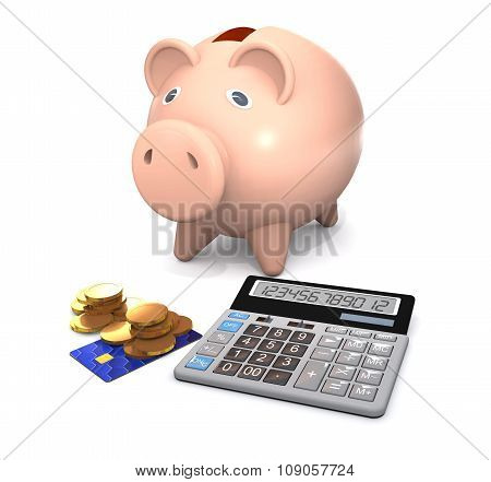 Piggy Bank, Electronic Calculator And Money Are On A White Background.