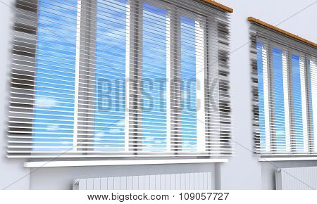 Windows With Blinds In The Room (3D Rendering).