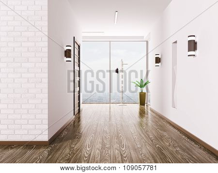 Hall Interior 3d rendering