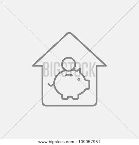 House savings line icon for web, mobile and infographics. Vector dark grey icon isolated on light grey background.
