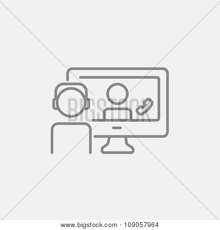 Two men communicating through video chat on laptop line icon for web, mobile and infographics. Vector dark grey icon isolated on light grey background.