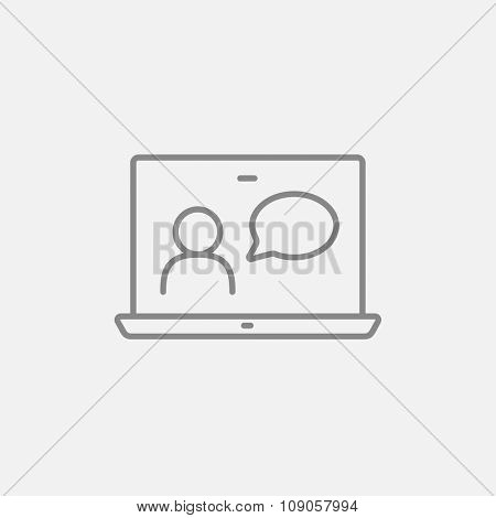 Video chat online line icon for web, mobile and infographics. Vector dark grey icon isolated on light grey background.