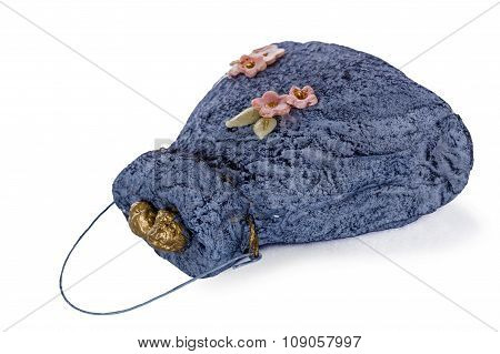 Exclusive Handmade Toy In The Form Of Blue Handbag, Isolated On White Background