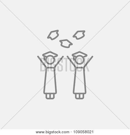 Graduates throwing caps line icon for web, mobile and infographics. Vector dark grey icon isolated on light grey background.