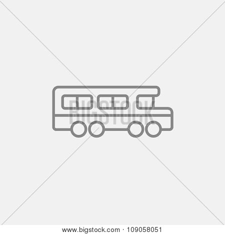 School bus line icon for web, mobile and infographics. Vector dark grey icon isolated on light grey background.