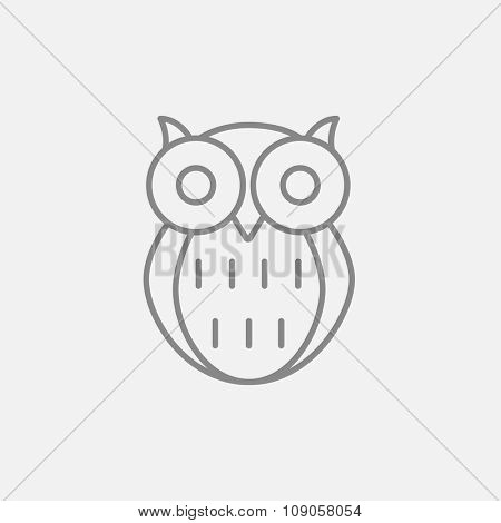 Owl line icon for web, mobile and infographics. Vector dark grey icon isolated on light grey background.