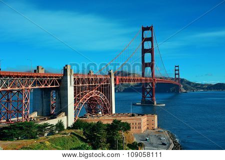 Golden Gate Bridge in San Francisco with flower as the famous landmark.