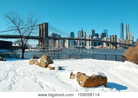 Brooklyn Bridge closeup with snow in winter in New York City