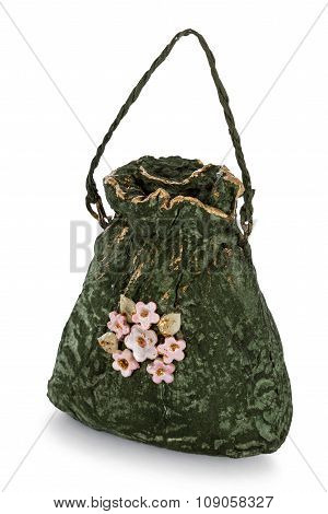 Exclusive Handmade Toy In The Form Of Green Handbag, Isolated On White Background