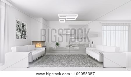 Interior Of Modern White Living Room 3D rendering