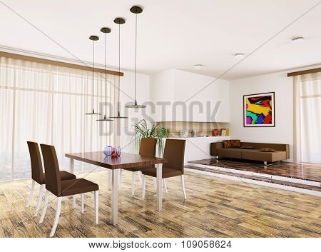 Interior Of Modern Living Room 3D Render
