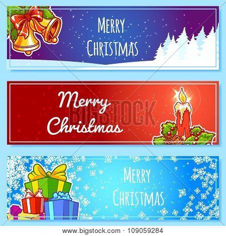 Three Christmas Horizontal Banner.